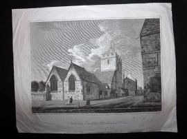 Skelton 1823 Antique Print North East View of the Old Church of St. Ebbe, Oxford